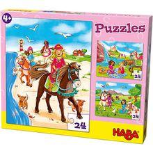 Puzzleset 3 x 24 Teile - Pferdefreundinnen