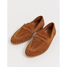 ASOS DESIGN – Mellow – Gewebte Leder-Loafer in Natur-Beige