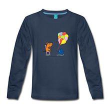 Spreadshirt Maus und Elefant Kinder Premium Langarmshirt, 110/116 (4 Jahre), Navy