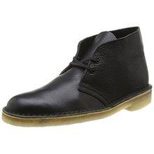 Clarks Desert Boot, Herren Derby Schnürhalbschuhe, Schwarz (Black Tumbled Leather), 43 EU (9 Herren UK)