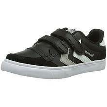 Hummel STADIL JR LEATHER LOW, Unisex-Kinder Sneakers, Schwarz (Black/White/Grey), 35 EU (2.5 Kinder UK)