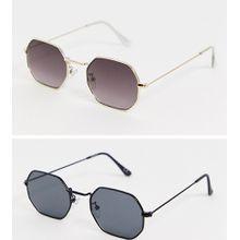 ASOS DESIGN – 2er Packung Sonnenbrillen in Gold und mattiertem Schwarz mit getönten Gläsern