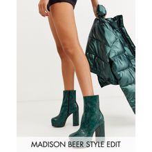 ASOS DESIGN - Eclipse - Ankle-Boots aus Leder mit Plateausohle und grünem Schlangenmuster - Grün