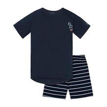 Schiesser Jungen Zweiteiliger Schlafanzug Anzug Kurz, Blau (Nachtblau 804), 164 (Herstellergröße M)