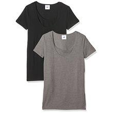 MAMALICIOUS Damen Umstands-T-Shirt Mllea Organic Nell S/S Top Nf 2pack Noos, 2er Pack, Schwarz/Hellgrau (Black/Lightgrey) (Black), 40 (Herstellergröße: L)