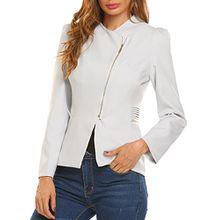 Meaneor Damen Suit Blazer Langarm Schräger V-Ausschnitt Business Anzug Freizeit Blazer mit Reißverschluss, Hellgrau, Gr. XXL