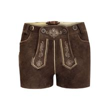 Almsach kurze Lederhose Shorts braun Damen