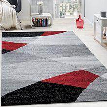 Paco Home Designer Teppich Modern Geschwungene Wellen Linien Muster Kurzflor Meliert Rot, Grösse:120x170 cm