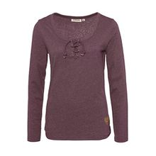 Sublevel Damen Basic Longsleeve mit Kordeln | Elegantes Langarm-Shirt Leicht Meliert Dark-Purple M