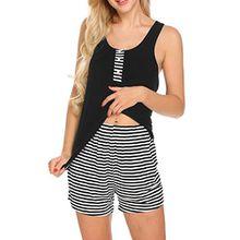 Unibelle Damen Pyjama Shorty 2-tlg Kurzarm Shirt und Shorts, Gr.-L,Schwarz-1