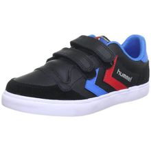 Hummel STADIL JR LEATHER LOW, Unisex-Kinder Sneakers, Schwarz (Black/Blue/Red/Gum), 28 EU (10 Kinder UK)