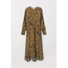 H & M - Seidenkleid m. Leopardenmuster - Yellow - Damen