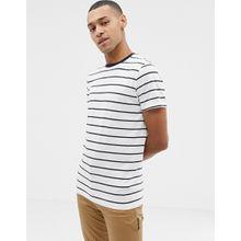 Selected Homme - Garngefärbtes, gestreiftes T-Shirt - Weiß