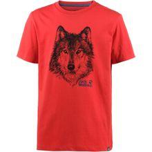 JACK WOLFSKIN T-Shirt 'Brand' rot / schwarz