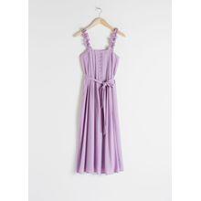 Ruffle Strap Midi Dress - Purple