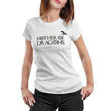 Stylotex Damen / Girlie T-Shirt Mother of Dragons v2 , Größe:S;Farbe:weiss