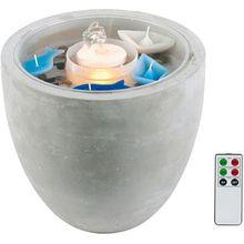 "LED Brunnen ""Maritim""  mit Fernbedienung H28 cm grau"