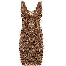 PrettyGuide Damen reizvoller tiefer V-Ausschnitt Pailletten Glitzer Bodycon Stretchy Minipartei-Kleid M Gold