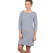 Blend She Eni Damen Sweatkleid Sommerkleid Kleid Mit Streifen-Optik Und U-Boot-Kragen Aus 100% Baumwolle, Größe:XL, Farbe:Mood Indigo (20064)