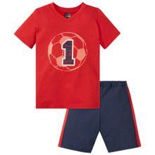 SCHIESSER Schlafanzug 'Fußball' nachtblau / feuerrot