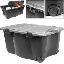 Aufbewahrungsbox mit Rollen 80 x 52 x 41cm Universalbox Spielzeugbox Rollbox Box | verschließbarer Deckel | 2 Griffen | schwarz/silber