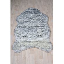 Fell Teppich Schaffell Lammfell Imitat Kunstfell Dekofell MIA bei 30 Grad waschbar aus 100% Polyester (080 x 150 cm Fell, weiss schwarz gepunktet 084)