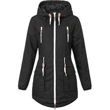 SUBLEVEL Damen Matilda Regenmantel Übergangsjacke Funktions-Jacke mit Kapuze aus hochwertigem Material Dark Stone Grey S