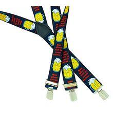 Hosentraeger Herren Damen Hosenträger schwarz mit Motiv Bier - beer suspenders Oktoberfest Bier Erwachsene 4714