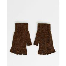 ASOS DESIGN – Fingerlose Handschuhe in Tabak-Bronze