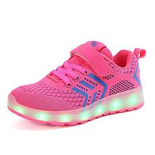 Kinder Schuhe mit Licht LED Schuhe USB Aufladen Leuchtend Sportschuhe Sneaker Laufschuhe Turnschuhe Trainer Blinkschuhe Schuhe für Mädchen Jungen Rosa 37