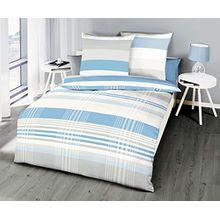 Kaeppel Renforcé Linon Bettwäsche Prime Time Streifen Hellblau, Größe:135x200cm Bettwäsche