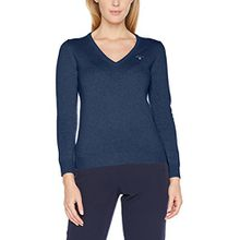 GANT Damen Pullover Superfine Lambswool V-Neck Sweater, Blau (Stone Blue Melange), 14 (Herstellergröße: Large)