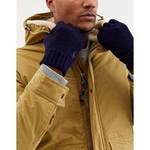 Polo Ralph Lauren – Marineblaue Wollhandschuhe mit Polospieler-Logo-Navy