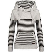 Sublevel Damen Sweatshirt Hoodie Kapuze LSL-287 Streifen light grey melange XL