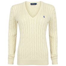 Ralph Lauren Damen Pullover - V-Neck - Creme (XL)