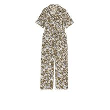 Belted Floral Jumpsuit - Beige