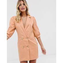 In The Style – Braungraues Blazer-Kleid im Smoking-Stil mit Puffärmeln