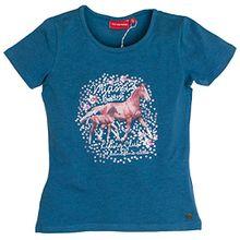 SALT AND PEPPER Mädchen T-Shirt Horses Photoprint, Blau (Jeans Blue Melange 471), 116 (Herstellergröße: 116/122)