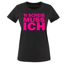 N Scheiß muss ich - Damen T-Shirt Schwarz / Pink Gr. XL