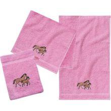 myToys Frottierset, 2 Handtücher & 1 Waschlappen, Pferd, rosa