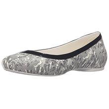 crocs Lina Shiny Flat, Damen Geschlossene Ballerinas, Silber (Oyster/Black 14K), 38/39 EU (6 Damen UK)