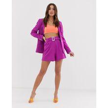 ASOS DESIGN - Forever - Anzugshorts mit Gürtel in Violett - Violett