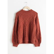 Floral Cable Knit Sweater - Orange