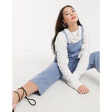 Monki – Ninni – Blaue Jeans-Latzhose aus Bio-Baumwolle