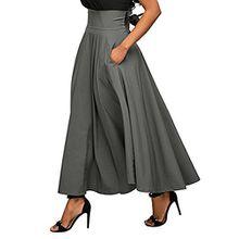 iBaste Damen Maxi-Rock mit Gürtel und hoher Taille ausgestellt mit Falten A-Linie Schwingenrock