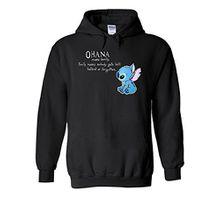 Disney Lilo and Stitch Ohana Cool Novelty Black Men Women Unisex Hooded Sweatshirt Hoodie-XL