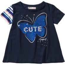Desigual T-Shirt 'Schmetterling' blau / navy / hellblau / silber / weiß