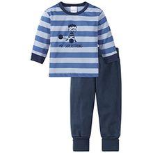 Schiesser Baby-Jungen Zweiteiliger Schlafanzug Zirkus Strong Boy Anzug Lang 2-Teilig, Blau (Blau 800), 80 (Herstellergröße: 080)