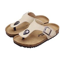 YipGrace Unisex-Kinder Pantoletten Kork Sandalen Flip Flops Seiten-Schnalle Verstellung Aprikose 39
