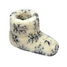 Warme Hausschuhe Damen Herren Hüttenschuhe Aus Schafwolle (45, Weiß und Grau)